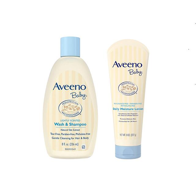 [套餐]AveenoBaby艾维诺婴儿保湿洗护保湿乳液浅蓝227g&洗发沐浴236m