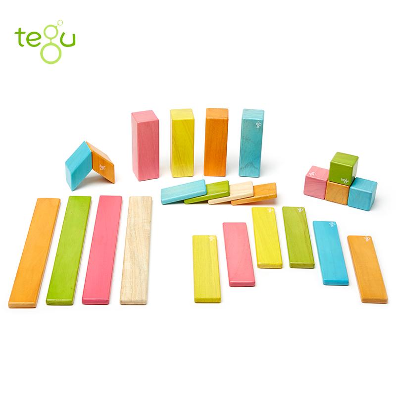 美国tegu 儿童玩具 24件磁性木制积木,彩色益智玩具,提升宝宝小脑智力发育