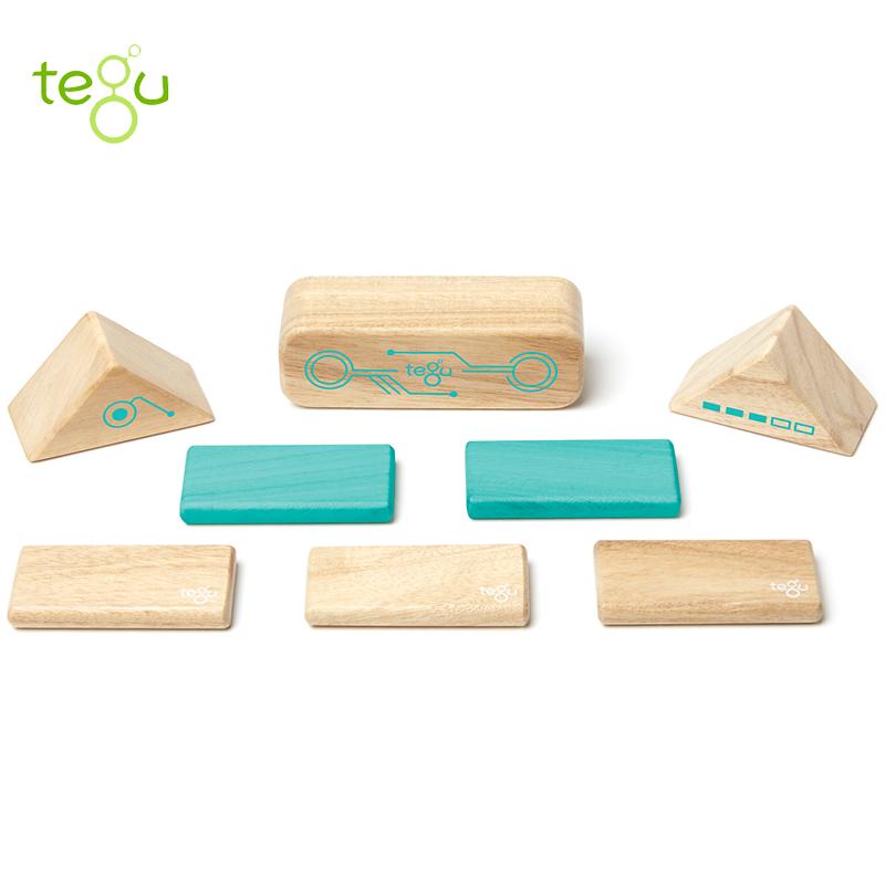 美国tegu 儿童益智玩具8件磁性木制积木 培养宝宝想象力,创造力