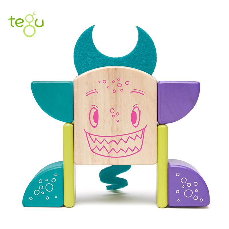 美国tegu 儿童玩具8件磁性木制积木,怪兽家族皮皮 ,宝宝益智玩具