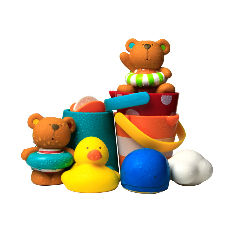 Hape宝宝洗澡玩具泰迪&朋友们戏水玩偶组+花式水漏桶组合套