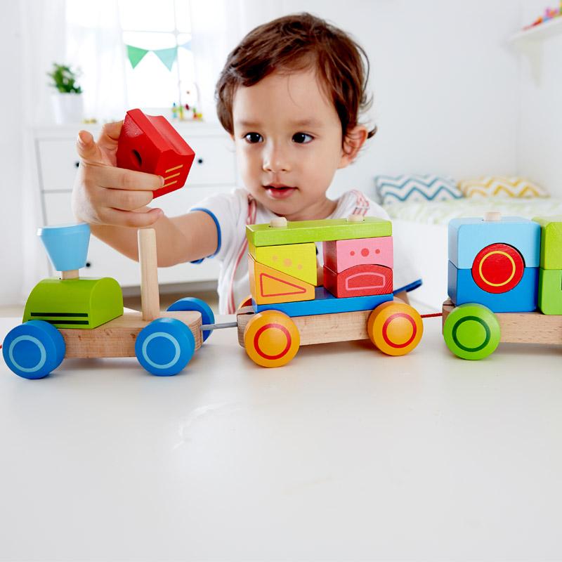 Hape几何积木火车