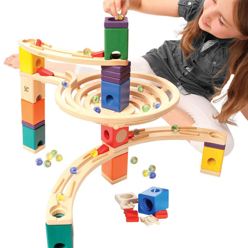 Hape夸得瑞拉入门基础套轨道滚珠架儿童拼装木制百变滑道积木玩具