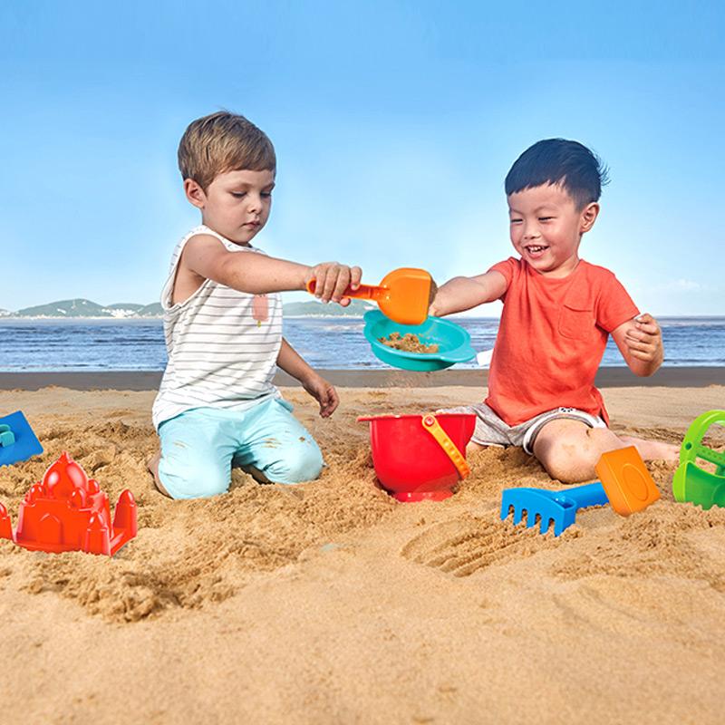 Hape新升级沙滩玩具学习培养男孩女孩家庭互动亲子玩具9件套