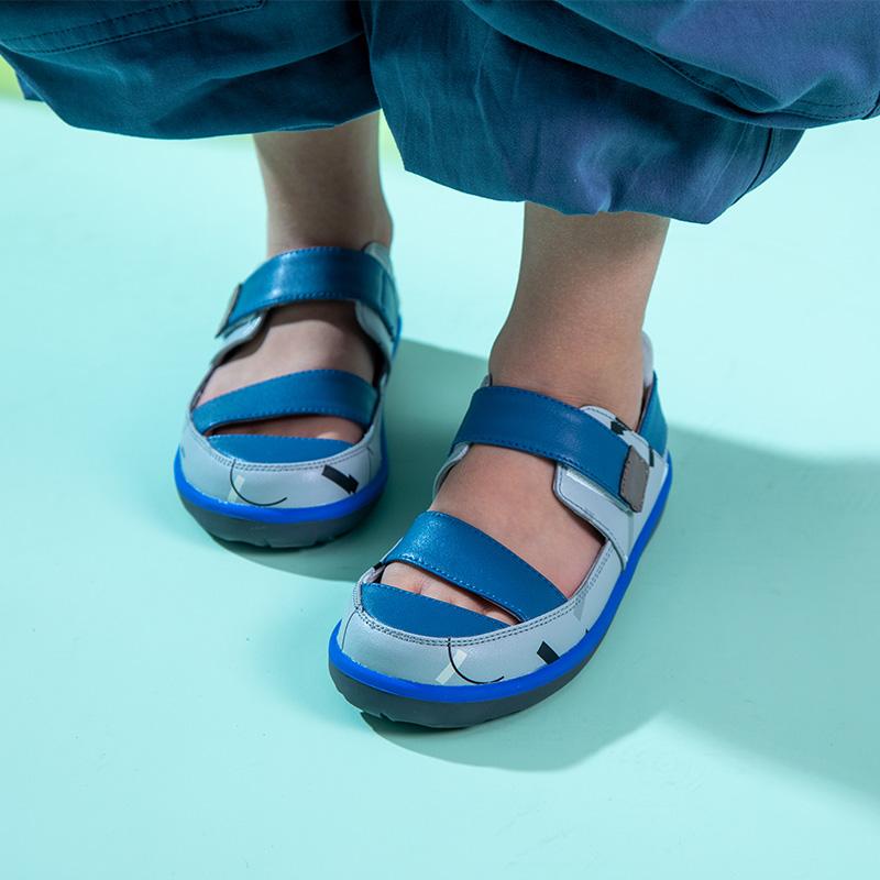 小蓝羊2020夏季新款大码皮凉鞋【涂鸦款】18个月~10岁