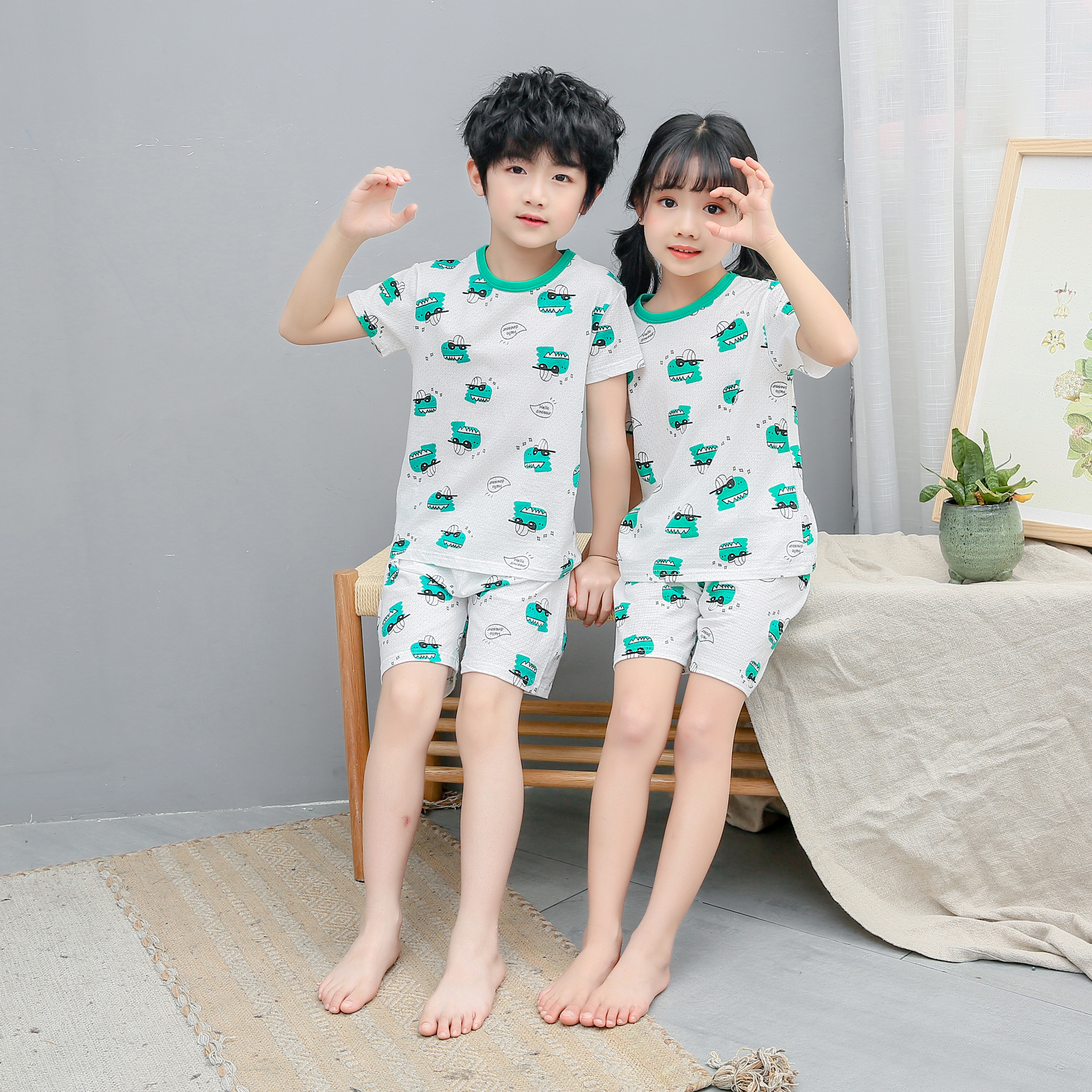 八福鼠儿童网眼提花短袖套装